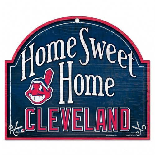 """CLEVELAND INDIANS WOOD ARCHED SIGN 10"""" X 11"""""""