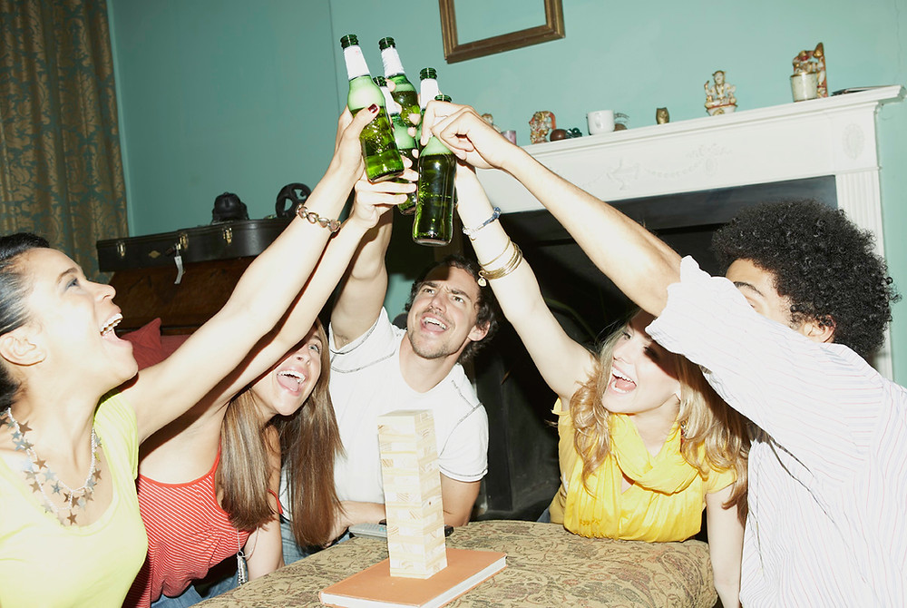 Men and women indulging in alcohol because they hate their lives, a lot.