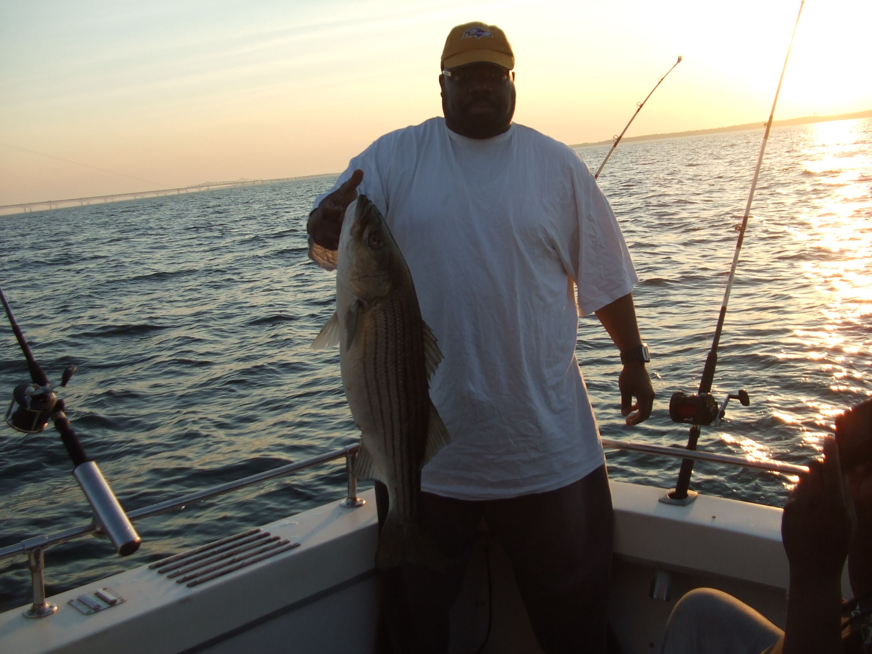 Trophy Striped Bass at sunrise