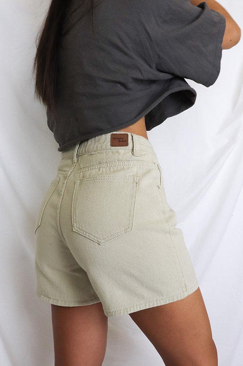 Beige Mom Shorts