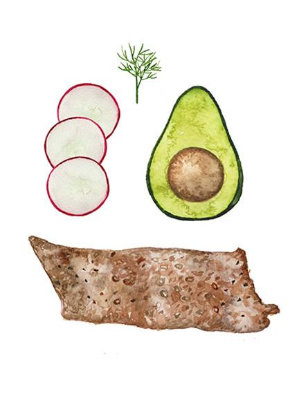 Avocado and crispbread