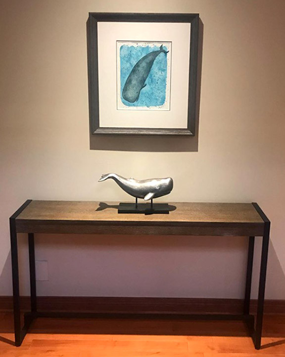 I painted this whale commission a while back and it is lovely to see it framed and in its new home :)