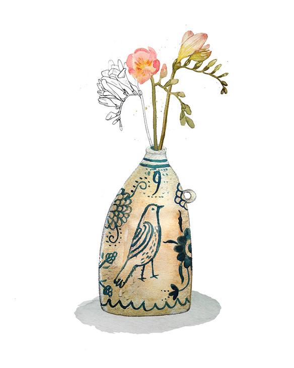 Freesias and stoneware jug