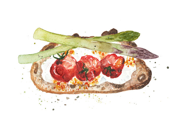 Tomatoes on toast with asparagus