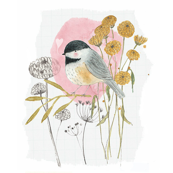 Chickadee and flowers illustration