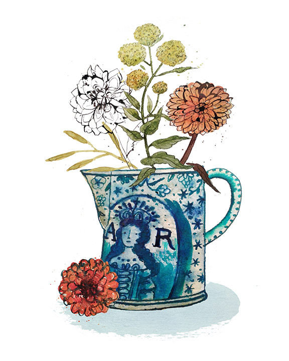 Antique jug with flowers