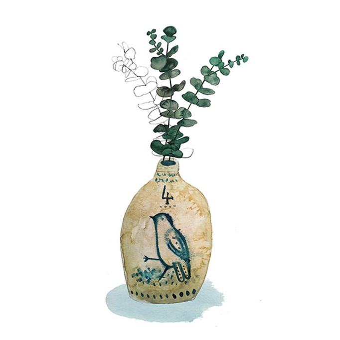 Antique jug and eucalyptus