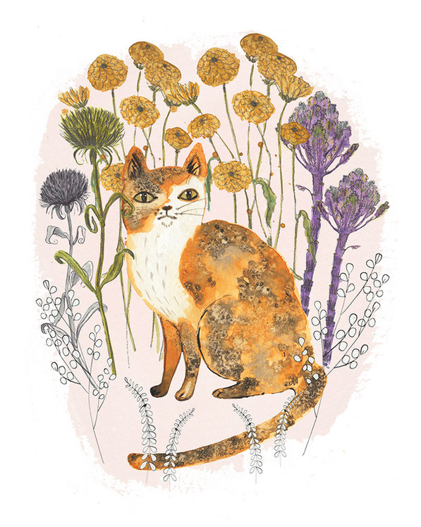 Calico cat and  flowers