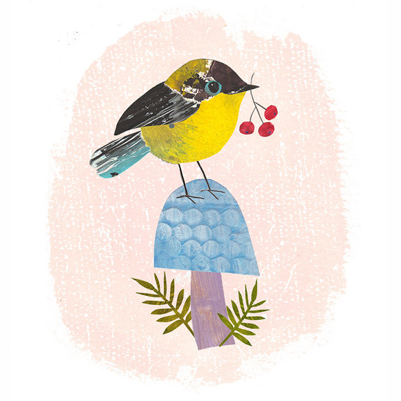 Yellow bird and toadstool
