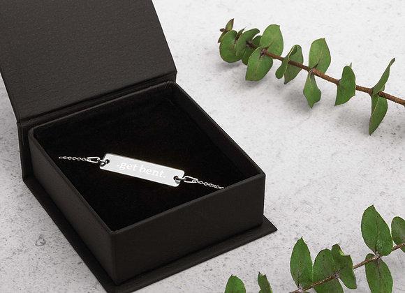 Get Bent Engraved Silver Bar Chain Bracelet