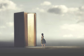 surreal book opens a door illuminated to