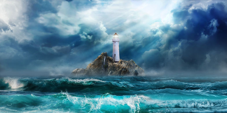 Lighthouse in storm with big waves of ts