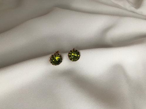 Клипсы с зелёными кристаллами