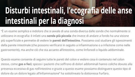 pageshot of 'Disturbi intestinali, l eco