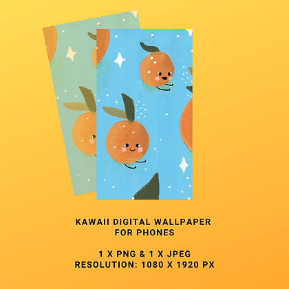 Kawaii Clementine Digital Wallpaper for Phones