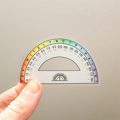 Definitely not Straight Protractor   Sticker