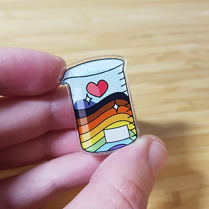 Rainbow Beaker | Acrylic badge