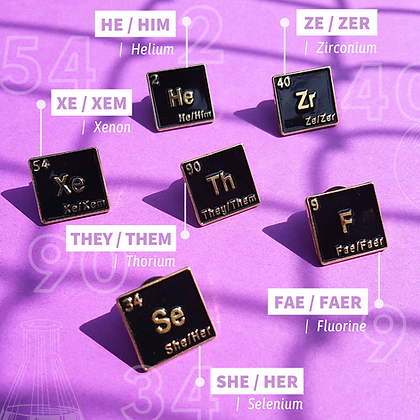 Pronouns Pins | Queer Chemistry