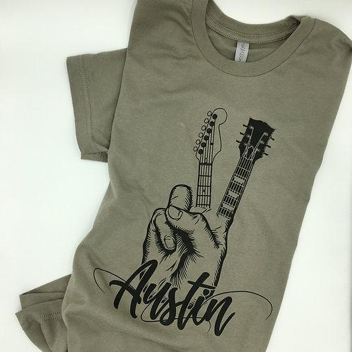 Austin Peace Guitar T-Shirt, Kelly D Tees, front