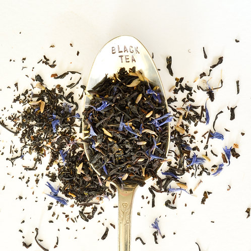 lavender Vanilla Earl grey loose leaf tea, White Cloud World Tea, organic tea, black tea