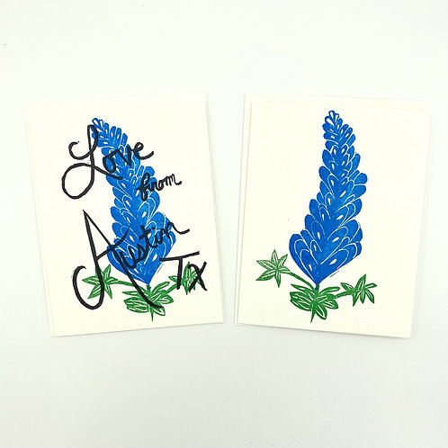 The Foxes Tail bluebonnet notecards, love from austin TX