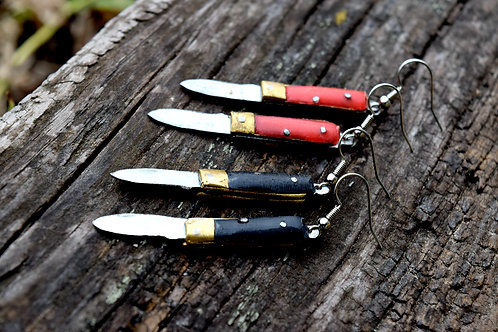 Road Side Rose miniature knife earrings, novelty earrings, red and black