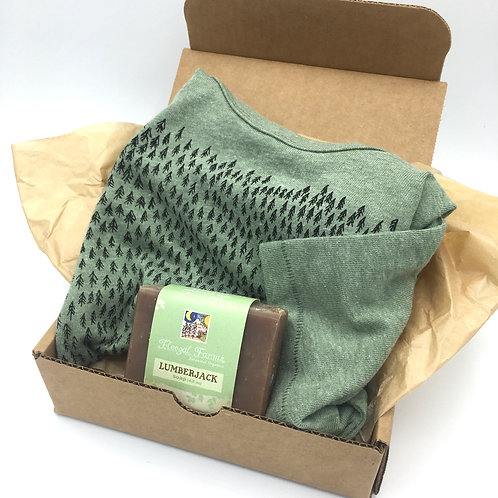 Lumberjack Father's day gift set, t-shirt, all natural soap, set, dad gift