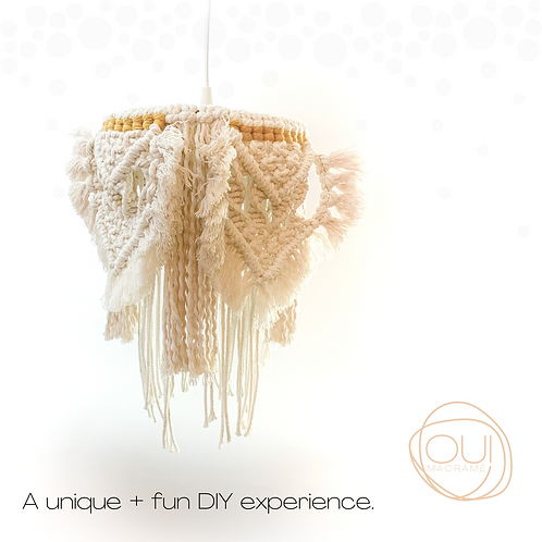 A unique and fun DIY experience, macrame chandelier kit, Oui Macrame
