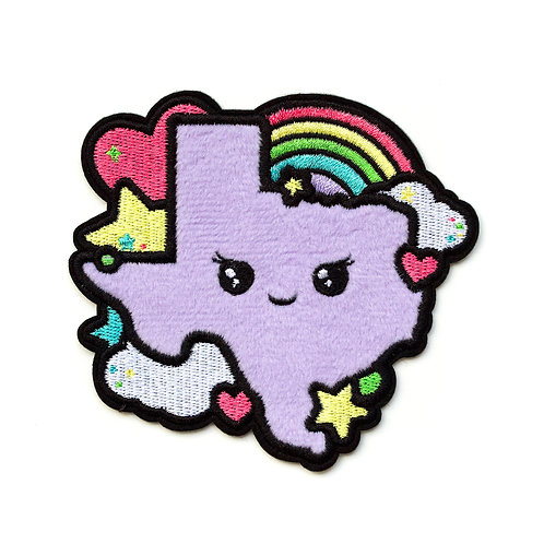Texas Cutie fuzzy adhesive patch, Lux Cups Creative, Texas accessories, rainbow