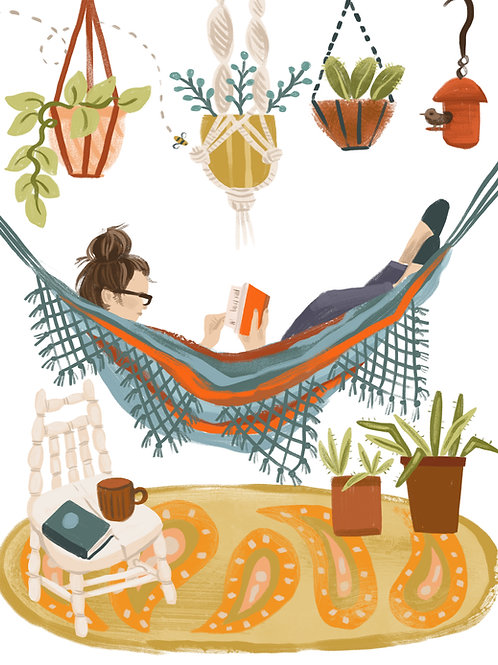 Hammock Reading Illustration, CBA Illustration, reader gift, book lover gift