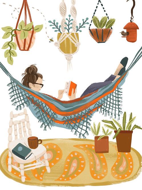 Hammock Reading Illustration, CBA Illustration, reader gift, book lover gift