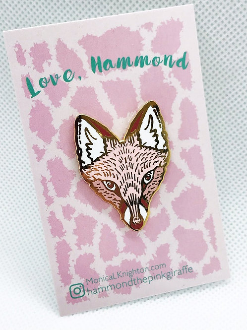 rose gold Fox enamel pin, Monica Knighton, fox jewelry