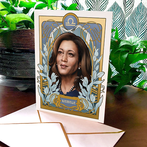 Black Zodiac Greeting Cards, Kamala Harris