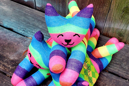 Monkey Business Rainbow Sock Kitten