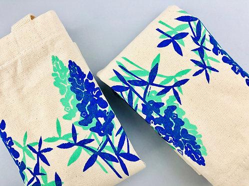 Bluebonnet tote bag cotton canvas, Victrola Studio, folded