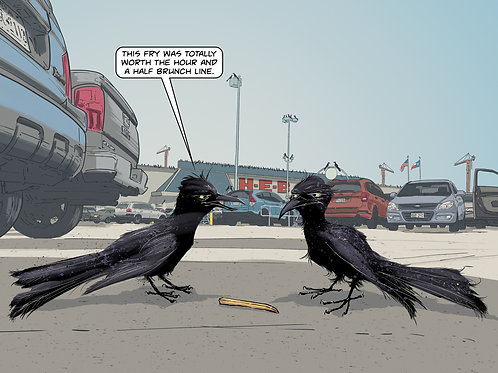 The Grackles, signed digital print, Todd Kale, detail, grackle art