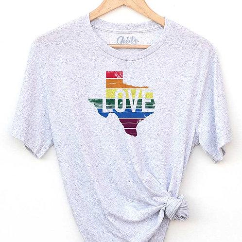 Gusto Graphic Tees TX Love Rainbow T-Shirt