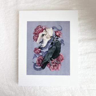 Shadow Print, Chloe Jane Gray, skull art, floral art
