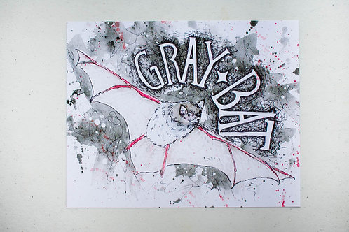 Where'd the Wild things Go Gray Bat Endangered Species Print