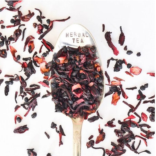 White cloud World Teas Blueberry Hibiscus Herbal Tea Caffeine free