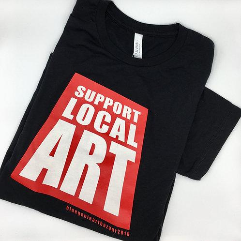 Support Local Art T-shirt, Blue Genie Art Bazaar, black t-shirt, cotton, Austin Artist gift