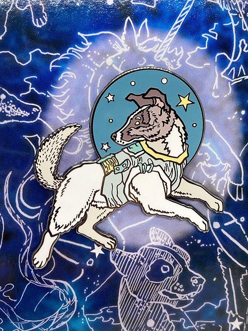 Monica L. Knighton Laika enamel pin, space dog