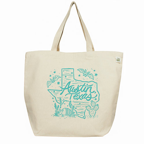 Austin Texas Large tote bag, Fisk and Fern, front, texas gift, austin gift