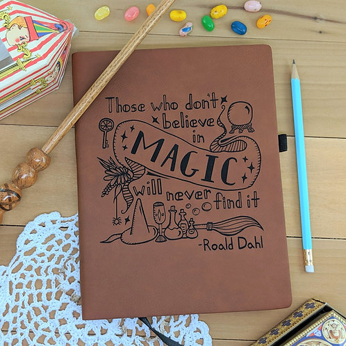 Believe in Magic Vegan Leather Journal, Pigsey Art, front