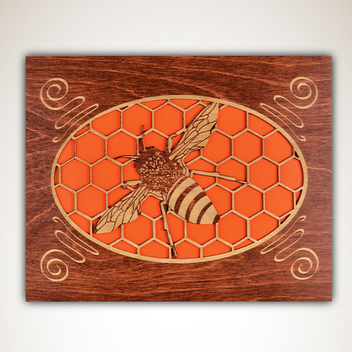 Bee Wall Plaque, The Coggler's Shoppe, bee art, honeycomb art, orange