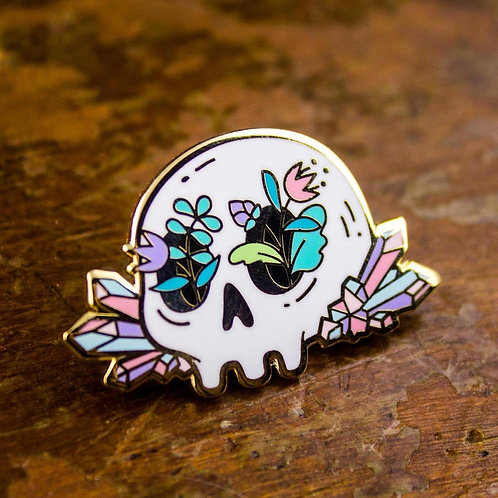 Crystal Floral Skull enamel pin, Floating Forest Studio, front