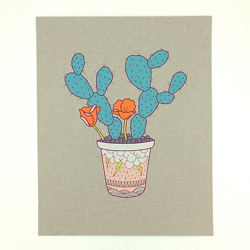 Aaron DeGruyter, Sanatorium Print, hand pulled screen print, cactus art, cactus flower, visual art