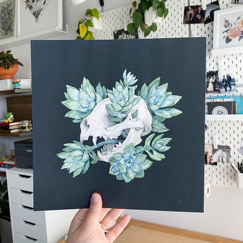 Cat Skull with Succulents, Chloe Jane Gray