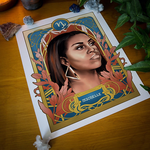 Black Zodiac Prints, Capricorn, Michelle Obama