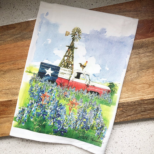 Rainy Day illustrations Texas Truck flour Sack Towel